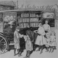 Children visiting a mobile book-mobile