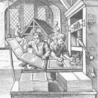 A typesetter and inker at work on a printing press
