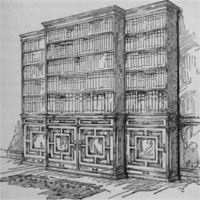 Three large ornate bookcases