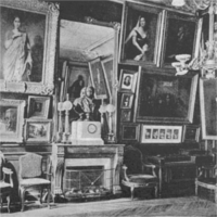 Ornate room filled with paintings hung salon-style