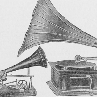 Two gramophones facing each other