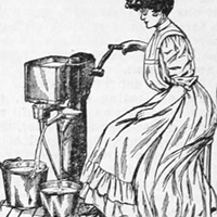 Woman churning butter or milk