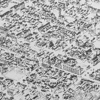 An aerial view of city blocks