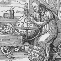 An old man consulting a large globe with a compass