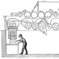 A figure working at a machine with gear diagrams