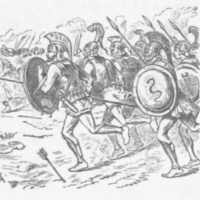 Soldiers in antique armor with spears