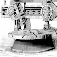 A mechanical device with gears and wheels