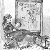 A woman reading next to a painting