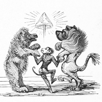A monkey dancing with a lion and a bear