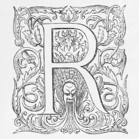 An ornate illustrated character R