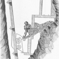 A diagram of a miner sorting ore into an apparatus