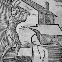 A man striking an anvil with a large hammer