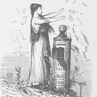 A woman throwing letters near a mailbox