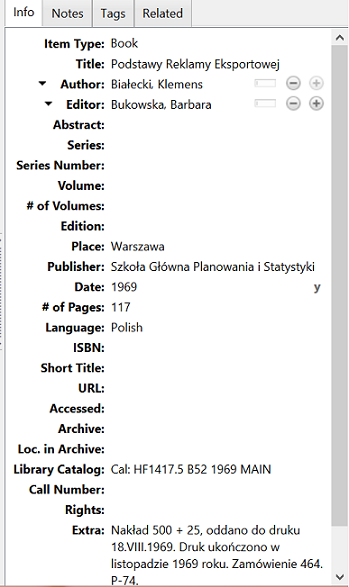 My metadata in Zotero