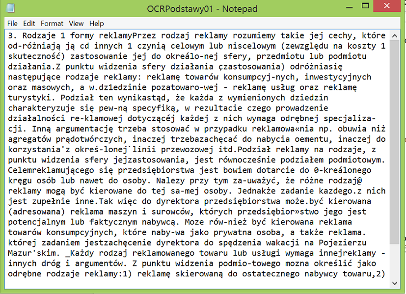 Ready OCR'd text in Notepad.