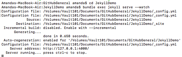 The command line after entering the command to start serving your Jekyll website