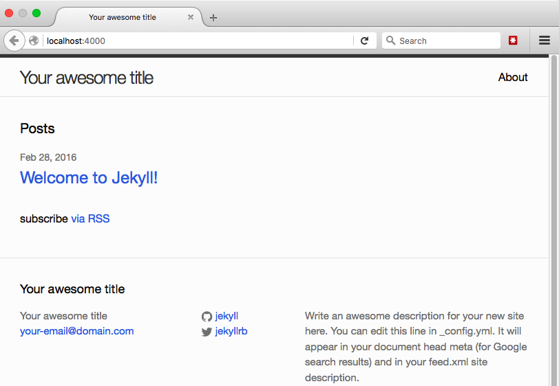 A basic Jekyll website with boilerplate text