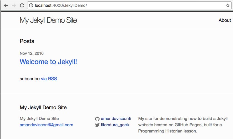 Building a static website with Jekyll and GitHub Pages