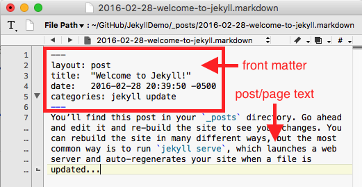 An example Jekyll website blog post file opened in a text editor