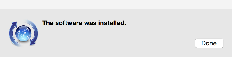 Popup message stating the software was installed