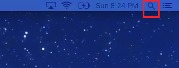 The magnifying glass icon that lets you search a Mac computer is in the top right of your computer screen