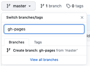Creating a gh-pages branch in the GitHub interface