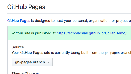 Screenshot showing how to check the name of the repository branch that publishes to GitHub Pages