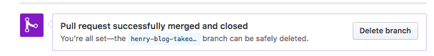 Screenshot showing deleting branch after pull request