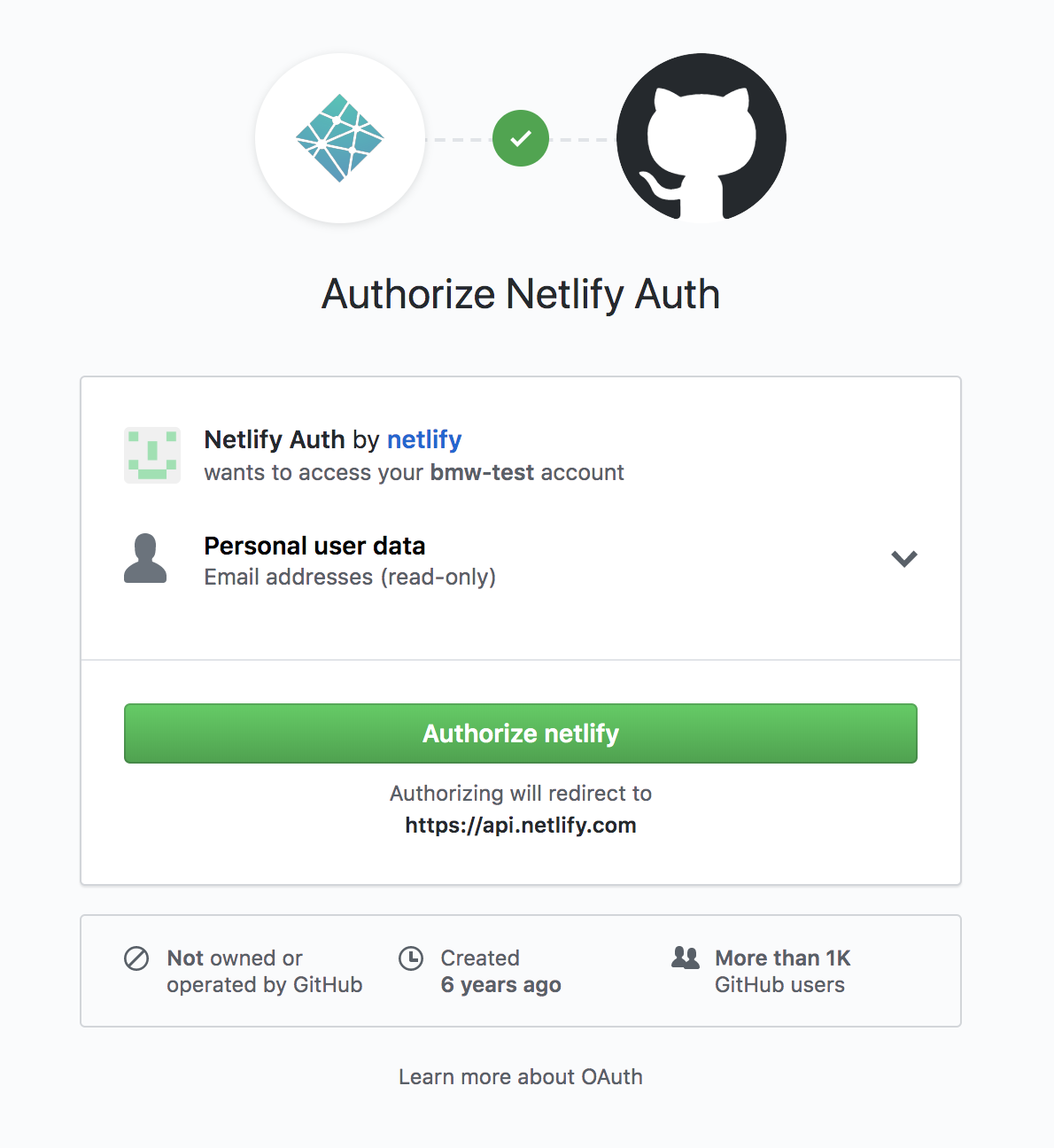 Screenshot of authorization pop up for Netlify