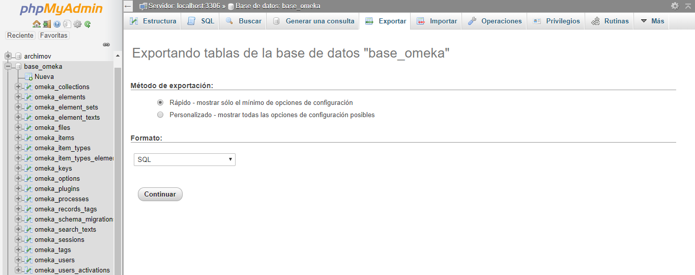 Exportar tablas de la base de datos de Omeka