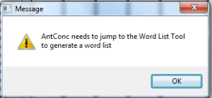 Word list warning