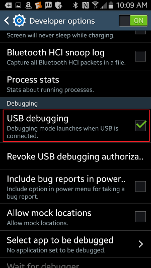 Make sure that 'USB Debugging' is enabled.