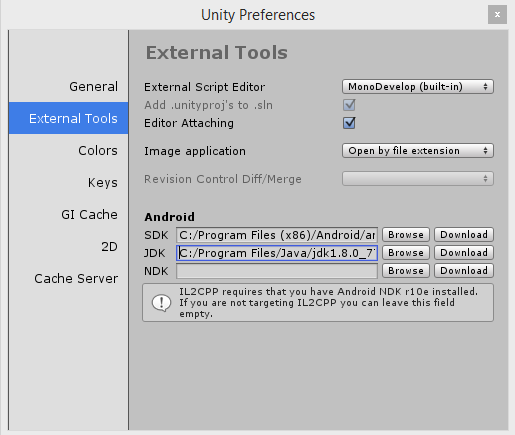 Connect the Android SDK Tools and the Java Development Kit to your Unity project.