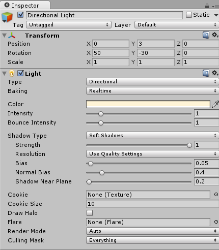 Use the inspector panel to modify the components of individual game objects.
