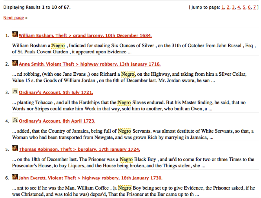 Search results for 'negro' in the Old Bailey Online