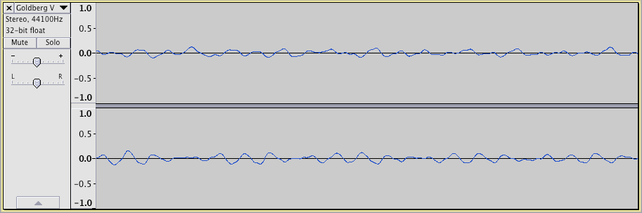 Zoomed in view of Bach waveform