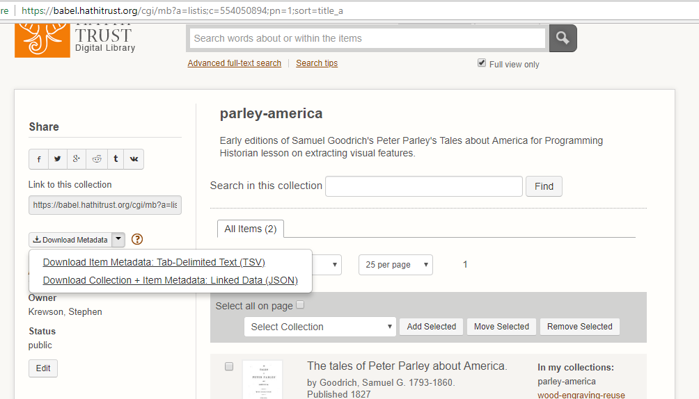 Screenshot of how to download collection metadata in JSON format.