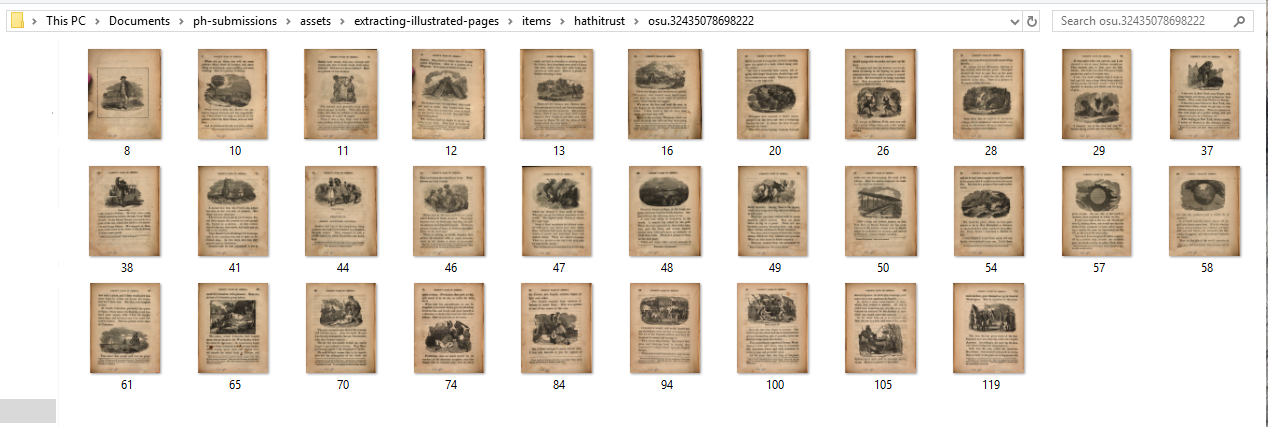 View of volume for which only pages with pictures have been downloaded.