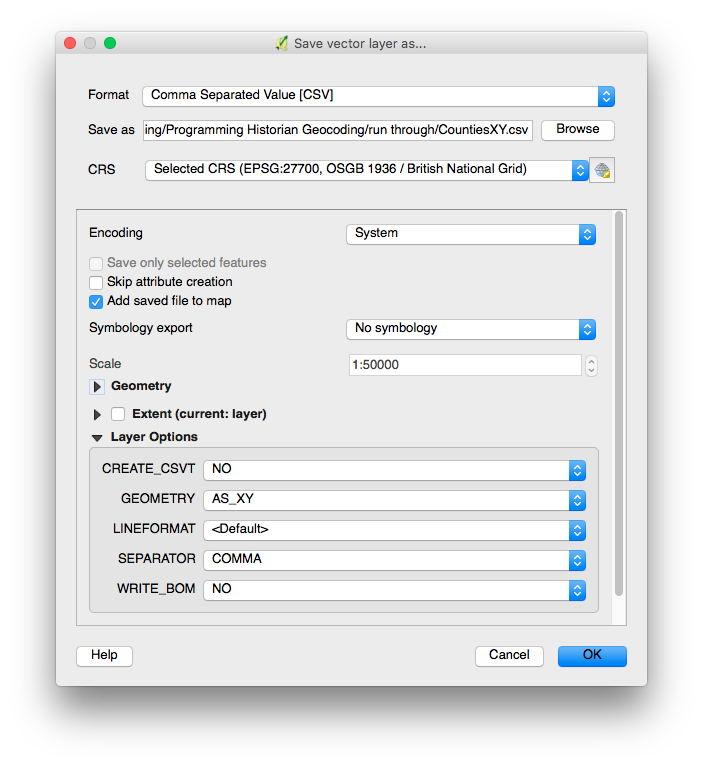 Figure 5: The save vector layer as dialog configured for CSV gazetteer export