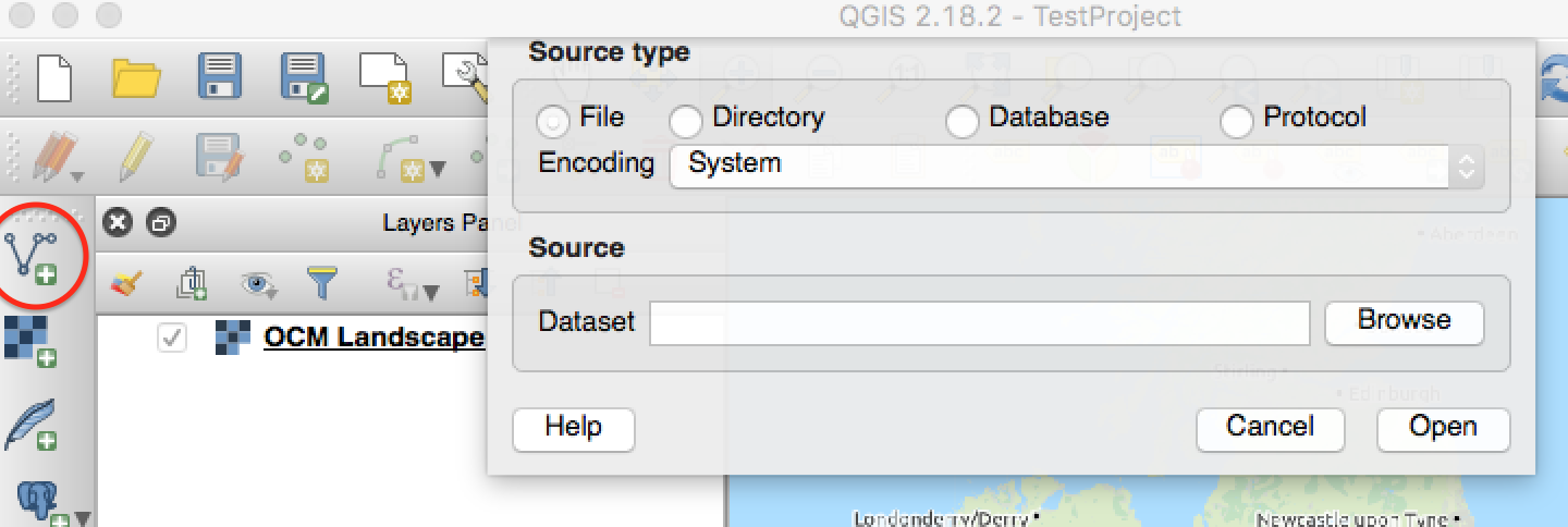 Figure 1: The QGIS Add Vector window on MacOS (the Add Vector button is circled on the left hand toolbar)
