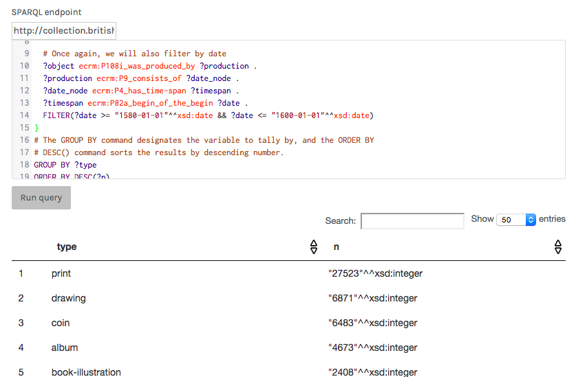 Palladio's SPARQL query interface.