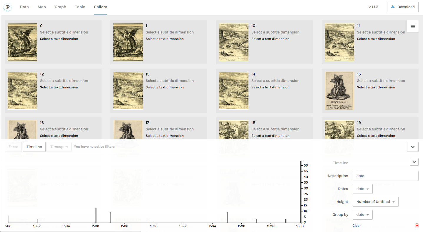 A gallery of images with a timeline of their creation dates generated using Palladio.