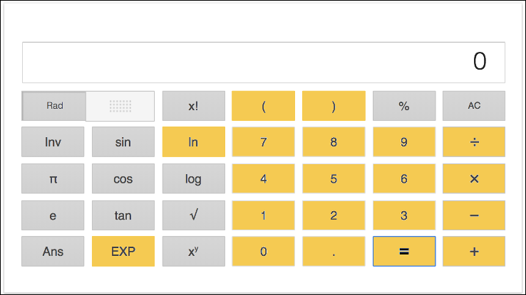 Figure 2: The Google calculator, with the keys used in this tutorial highlighted in yellow. You can use any calculator that has these keys as a minimum.