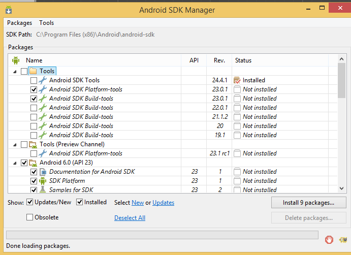 Install packages within the Android SDK manager.