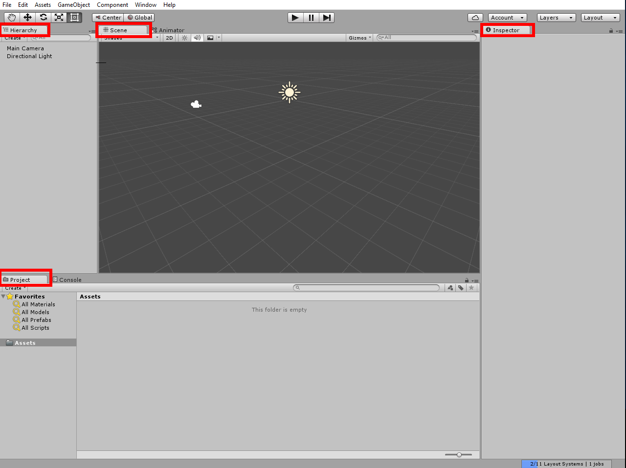 Default layout of the Unity interface.
