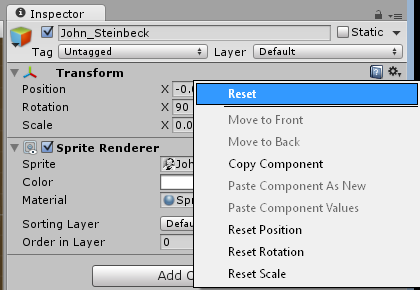 Reset the position, rotation, and scale of a game object in the Transform component.