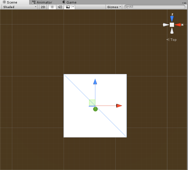 Scene view after selecting green y-axis.