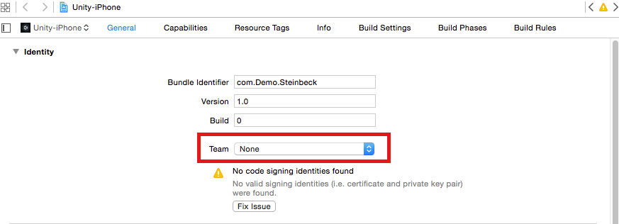 Add your account in Xcode.