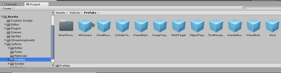 Use this area to navigate around the file structure of your Unity project.