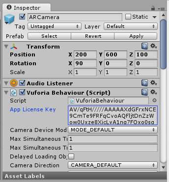 Copy and paste your app license key into the Vuforia Behaviour script attached to your ARCamera prefab.